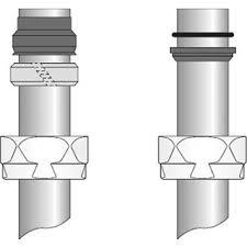 Jaga Adapter 15mm staal/koper vernikkeld