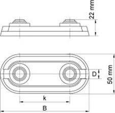 Rozet dubbel 14mm - 20mm hoh 35 mm