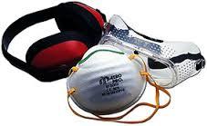 Veiligheidsset 3delig mondkap bril en oorbeschermer